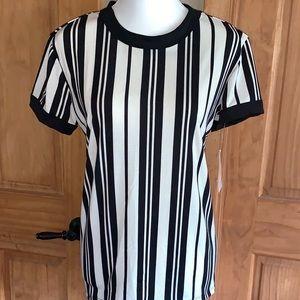 NWT M LLR Black & White Striped Liv Tee